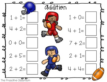 Number Tiles- Addition and Subtraction to 10 - Sports Theme
