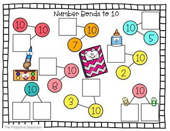 Number Tiles - Number Bonds to 10 - Back to School Theme Math Center