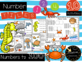 Number Tiles with Numbers to 100 - Ocean Theme Math Center