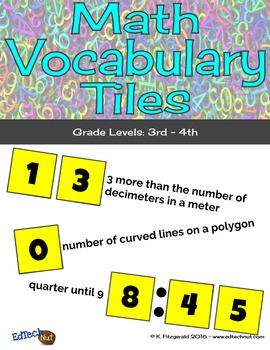 Number Tiles: Math Vocabulary Grades 3rd-4th