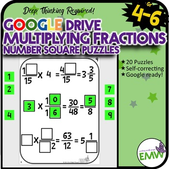 Number Tiles: Multiplying Fractions Square Tile Google Drive Puzzles
