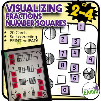 Number Tiles: Visualizing Fractions Square Tile Printed Cards or iPad Puzzles!