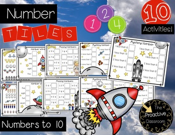 Number Tiles for Numbers to 10 - Space Theme