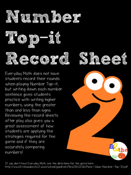 Number Top-it Record Sheet