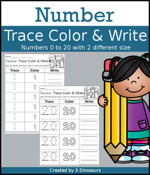 Number Trace, Color & Write