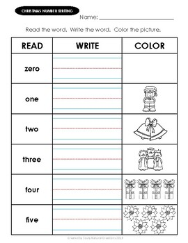 Number Trace & Writing CHRISTMAS Worksheets