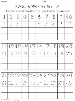 Number Trace and Write 1-30