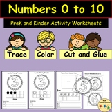 Numbers  to 10 Trace Color Cut Glue Paste Worksheet Activi