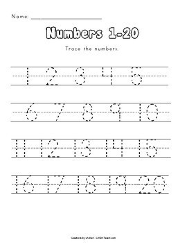 Number Tracing (1-100) by Creations by LAckert | TpT