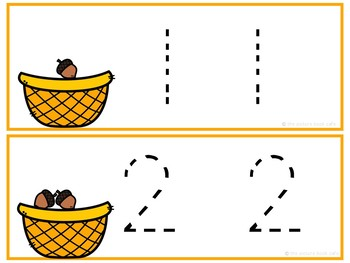 Number Tracing Cards 1-10 Acorn Themed