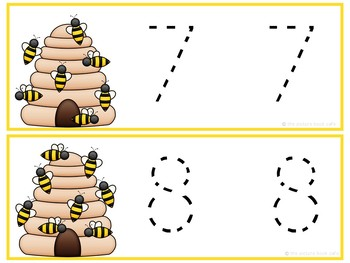 Number Tracing Cards 1-10 Bee Themed