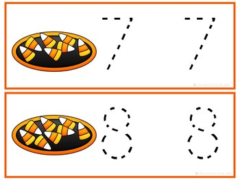 Number Tracing Cards 1-10 Candy Corn Themed