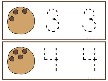 Number Tracing Cards 1-10 Cookie Themed