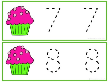 Number Tracing Cards 1-10 Cupcake Themed