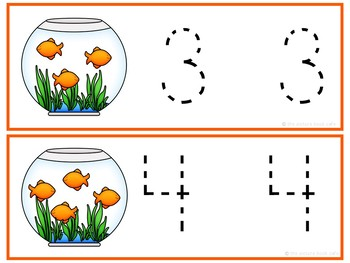 Number Tracing Cards 1-10 Goldfish Themed