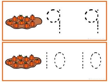 Number Tracing Cards 1-10 Pumpkin Themed