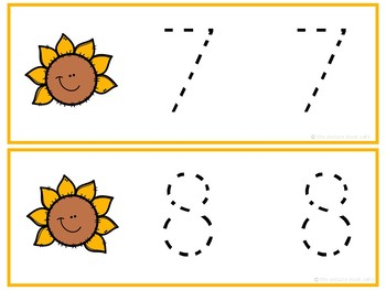 Number Tracing Cards 1-10 Sunflower Themed