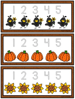 Number Tracing Cards: Fall (Numbers 1-20)