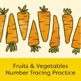 Number Tracing Practice 0-20 with Fruit & Vegetable Illustrations