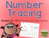 Number Tracing Practice with Tens Frames