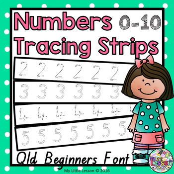 Number Tracing Strips 0-10 QLD Beginners Font