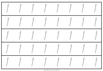 Number Tracing Strips 0-20 QLD Beginners Font