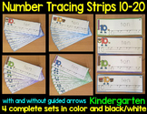 Number Tracing Strips for correct number formation set 2 (10-20)- BW and color