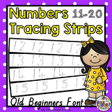 Number Tracing Strips 11-20 QLD Beginners Font