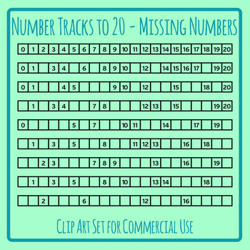 Number Tracks 0 - 20 with Missing Numbers Template Clip Art Set Commercial Use