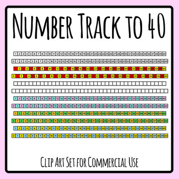 Number Tracks to 40 Template Clip Art Set Commercial Use