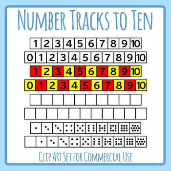 Number Tracks to Ten Template Clip Art Set Commercial Use