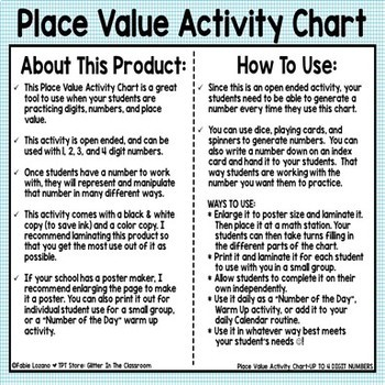 Place Value Activity Chart Up To 4 Digit Numbers Freebie Tpt