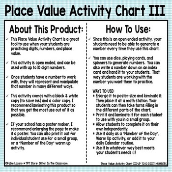 Place Value Activity Chart III - Up To 10 Digits - Freebie