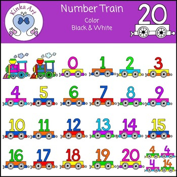 Number Train Clip Art - 0 to 20