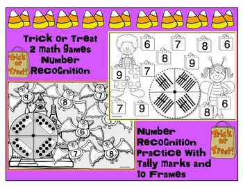 Number Trick or Treat/ Tally Marks and Ten Frame Number Recognition