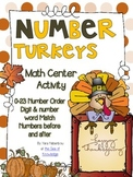 Number Turkeys {Order & Number Word Match} Number Cards 0-23