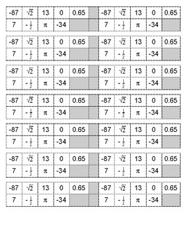 Number Types Match Up