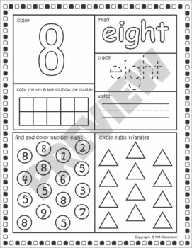 Number Posters 1-10 with Ten Frames, Tally Marks, Fingers and Dice