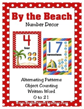 Number Wall Decor By the Beach 0 to 21 Ocean Boat Island theme