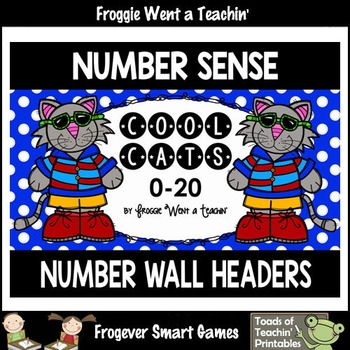 """Number Wall Posters/Headers--Number Sense """"Cool Cats"""""""