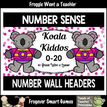 "Number Wall Posters/Headers--Number Sense ""Koala Kiddos"" Set I (pink)"