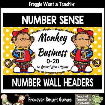 """Number Wall Posters/Headers--Number Sense """"Monkey Business"""" (girls)"""