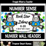 "Number Wall Posters/Headers--Number Sense ""Rock Star Zebras"" (blue)"