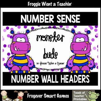 """Number Wall Posters/Headers--Number Sense """"Monster Buds"""" (purple)"""
