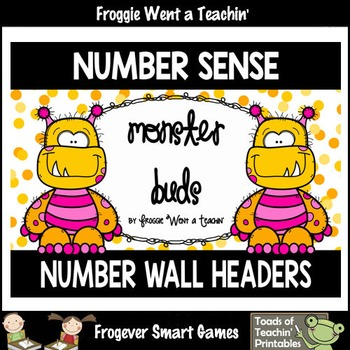 "Number Wall Posters/Headers--Number Sense ""Monster Buds"" (yellow/pink)"