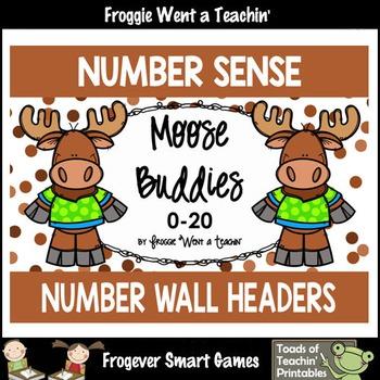 """Number Wall Posters/Headers--Number Sense """"Moose Buddies"""""""