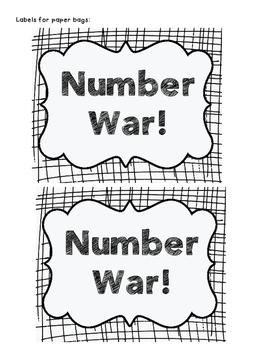 Comparing Numbers: Number War (Multiple Versions, Single to Three-Digit Numbers)