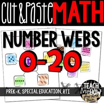 Number Sense: Number Webs 1-20 Cut & Paste Worksheets, NO PREP