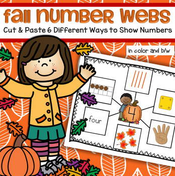 Fall Number Webs Cut and Paste