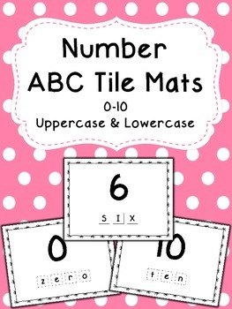 Number Word ABC Tile Mats - Uppercase and Lowercase - 0 through 10